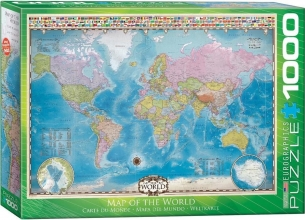 Eur-6000-0557,Puzzel 1000 stukjes map of the world