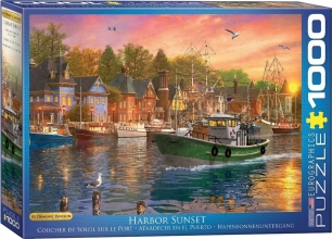 Eur-6000-0969,Puzzel harbor sunset- eurographics- 1000 stuks